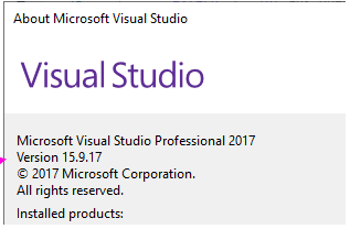 Visual Studio 15 9 17